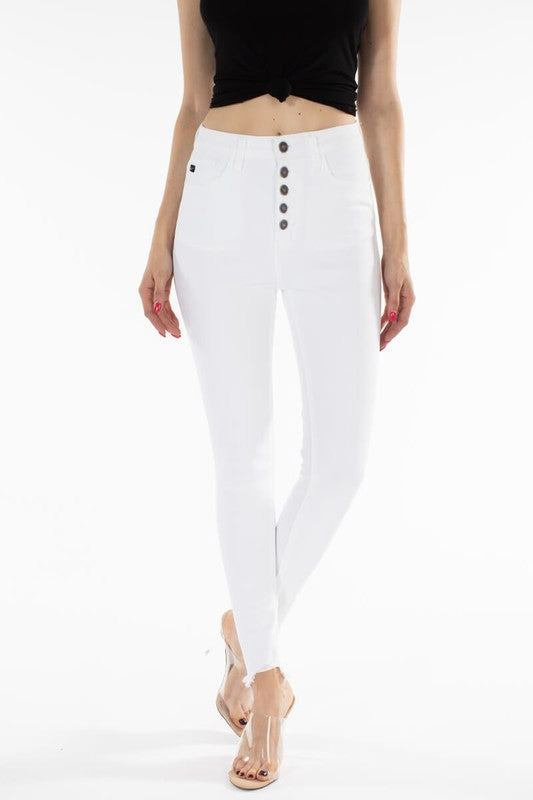 KanCan High Rise Jeans Raw Cuffs - White - Olive & Sage Boutique