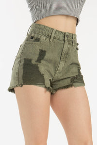 KanCan High Rise Destroyed Shorts - Olive