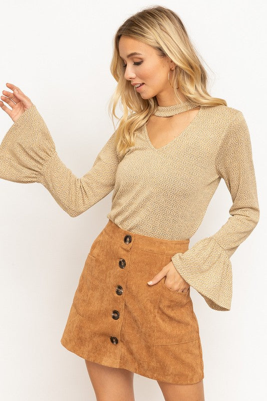 Bell Sleeve Textured Knit Top - Olive & Sage Boutique