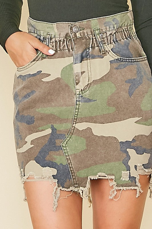 Camouflage Printed Denim Skirt - Olive & Sage Boutique
