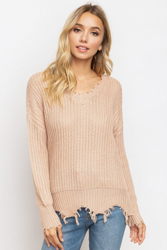 Distressed V-Neck Sweater - Olive & Sage Boutique