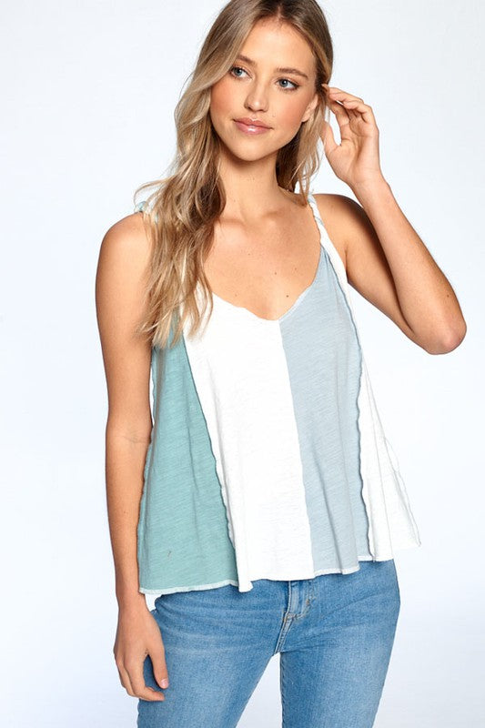 Twist Strap Colorblock Tank - Olive & Sage Boutique