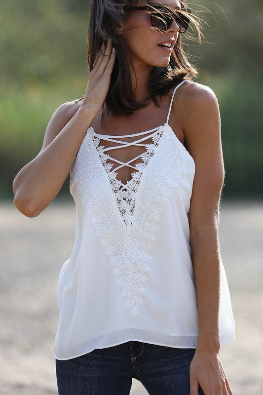 Embroidery Lace Tank Top - Olive & Sage Boutique