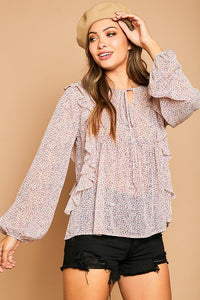 Flower Printed Ruffle Blouse - Olive & Sage Boutique