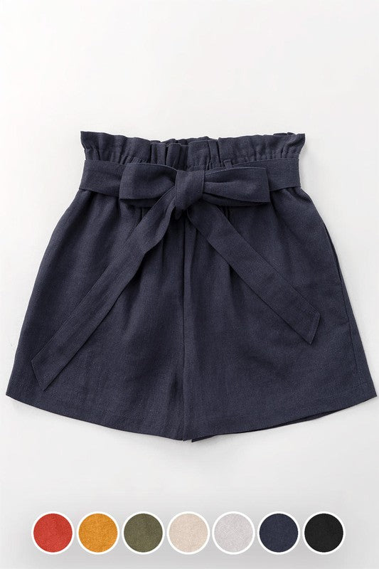 Linen Paperbag Shorts - Navy - Olive & Sage Boutique