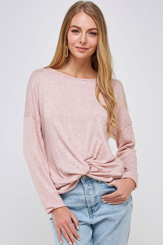 Long Sleeve Front Knot Top - Dusty Pink - Olive & Sage Boutique