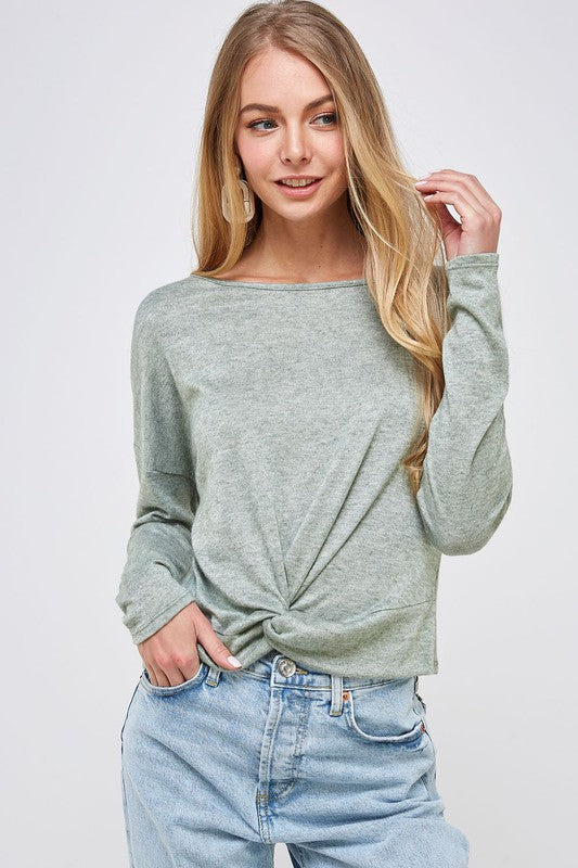 Long Sleeve Front Knot Top - Sage - Olive & Sage Boutique