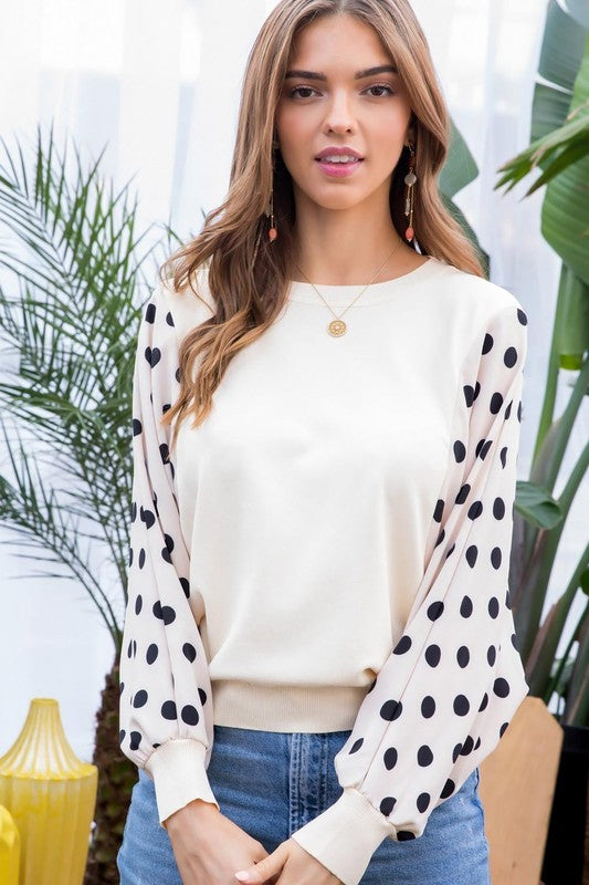 Polka Dot Bubble Sleeve Top - Olive & Sage Boutique