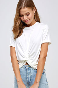 Solid Twisted Knot Tee - Off White - Olive & Sage Boutique
