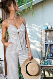 Striped Front-Tie Jumpsuit - Olive & Sage Boutique