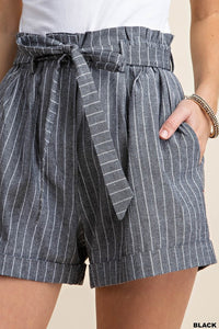 Striped Paperbag Shorts - Black - Olive & Sage Boutique