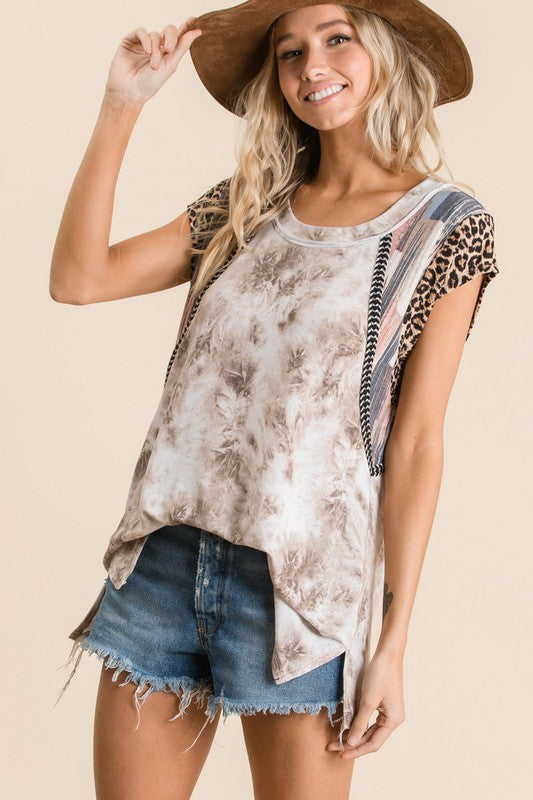 Tie Dye Animal Print Top - Olive & Sage Boutique