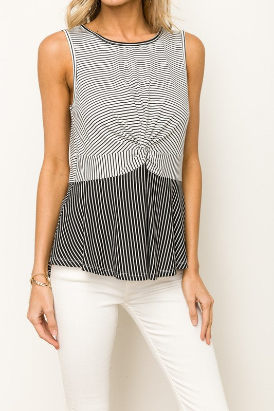 Twist Front Striped Tank - Olive & Sage Boutique