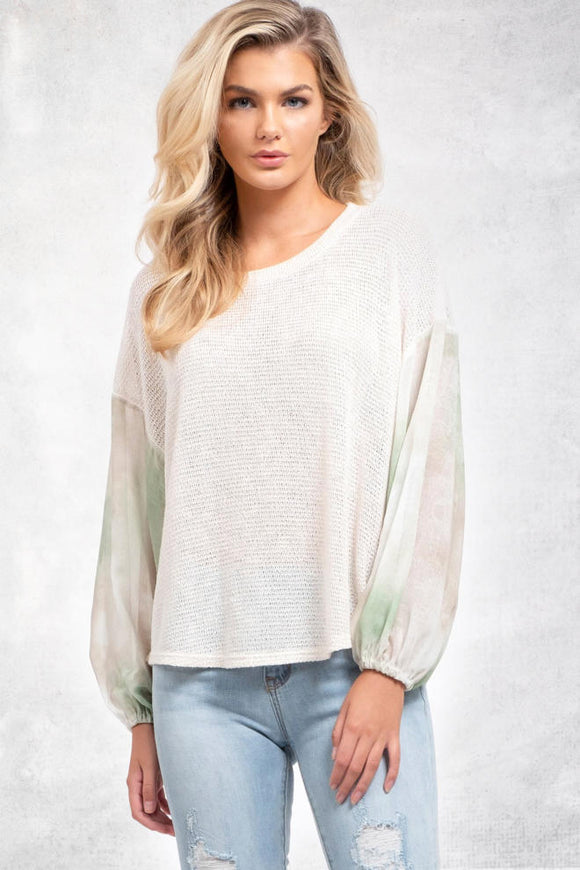 Tie-Dye Sleeve Knit Top - Olive & Sage Boutique