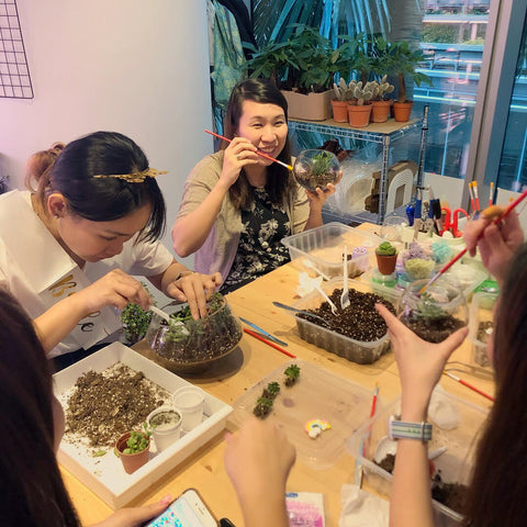 Private Terrarium Workshop for Bridal Hens Night Party by Lush Glass Door 1