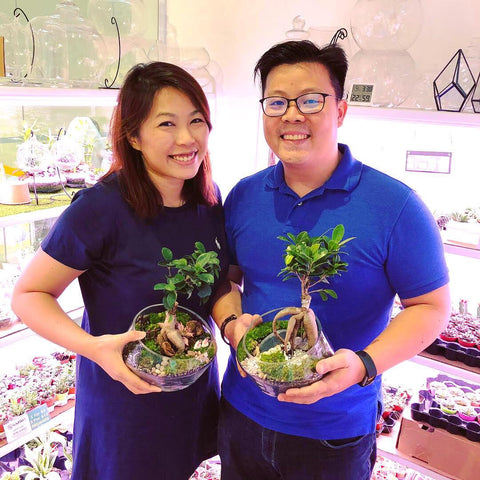 couple terrarium building workshop at Lush Glass Door
