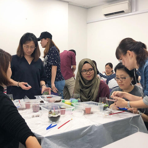 Terrarium Workshop Team Bonding with Trusted Source Pte Ltd by Lush Glass Door 2