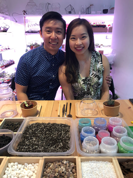 Couple terrarium workshop at Lush Glass Door