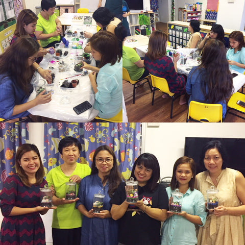 PCS Preschool Hougang centre Teachers terrarium workshop by Lush Glass Door