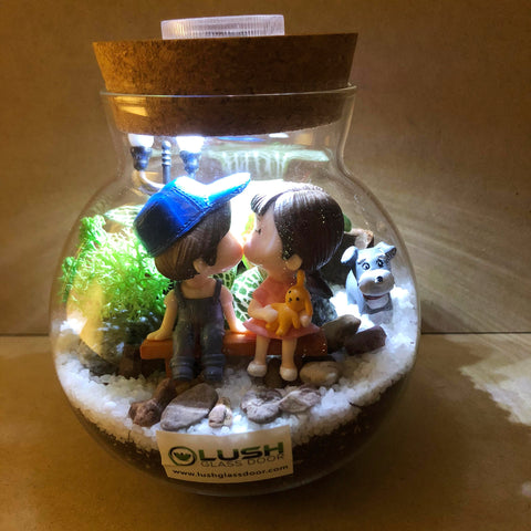 Customized Felipe Fittonia Terrarium with Light by Lush Glass Door Singapore