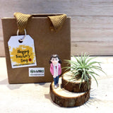 Cute Airplant with Miniature on Wooden Stumps
