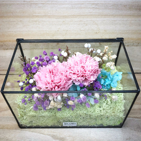 Garden Flowers of Love Eternal Preserved Carnation in Geometric Glass Box
