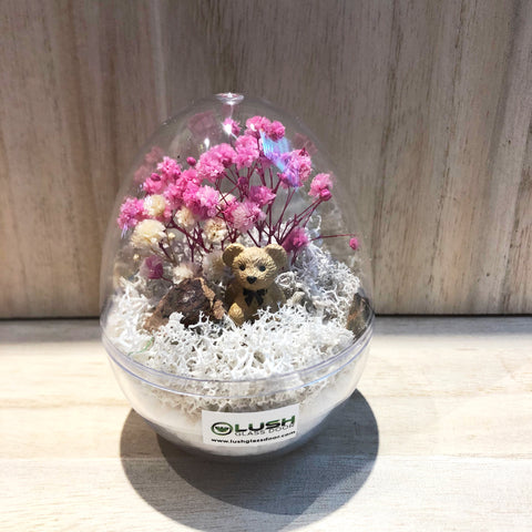 Mahoney Mini Egg Shaped Eternal Baby Breath with Colored Moss