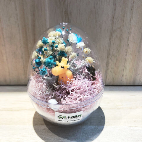 Inigo Mini Egg Shaped Eternal Baby Breath with Colored Moss