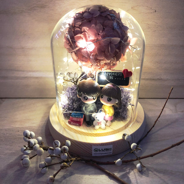 Cool December Preserved Hydrangea Tree in Dome Glass With Fairy Light