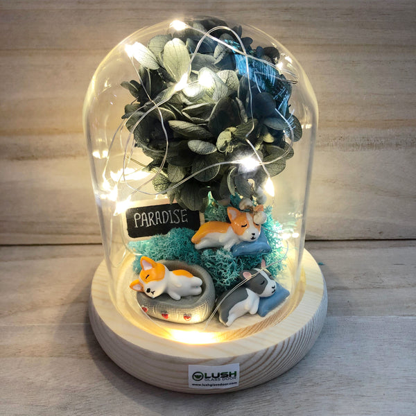 Solely For Dog Lovers in Dome Glass With Fairy Light