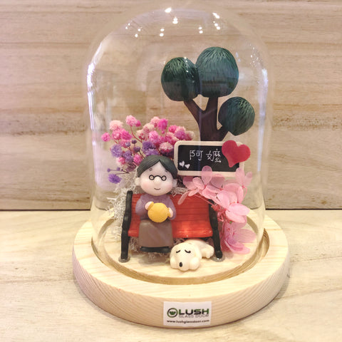 For Grandma Preserved Baby Breath Glass Dome