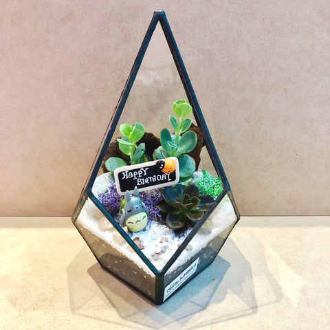 Customized Amsterdam Totoro Succulents Arrangement in Teardrop Geometric Terrarium by Lush Glass Door Singapore