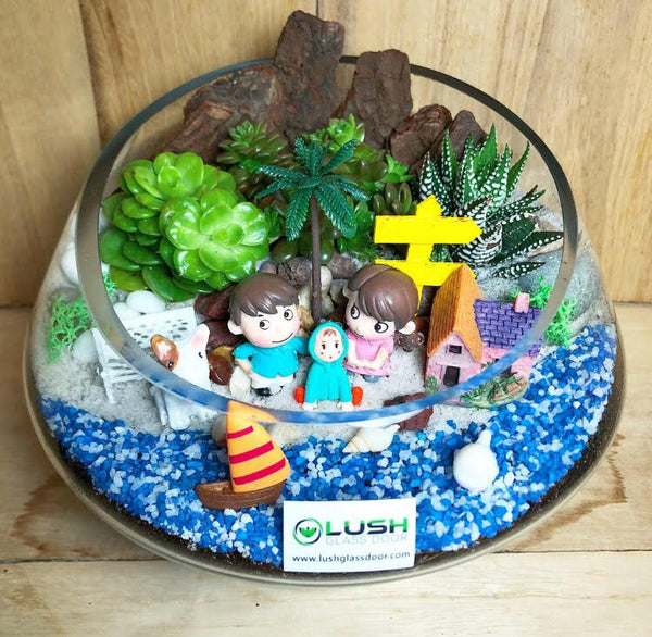 Customized Aldo Succulents Premium Terrarium by Lush Glass Door Singapore