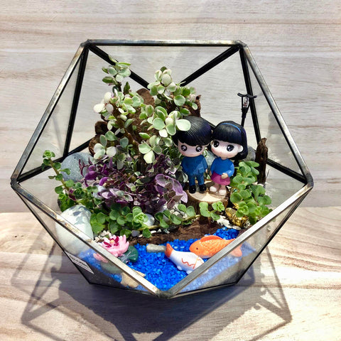 Customized Avneet Succulent Ball Shaped Geometric Terrarium by Lush Glass Door Singapore