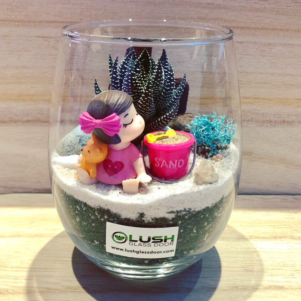 Customized Presslyn Succulent Terrarium by Lush Glass Door Singapore