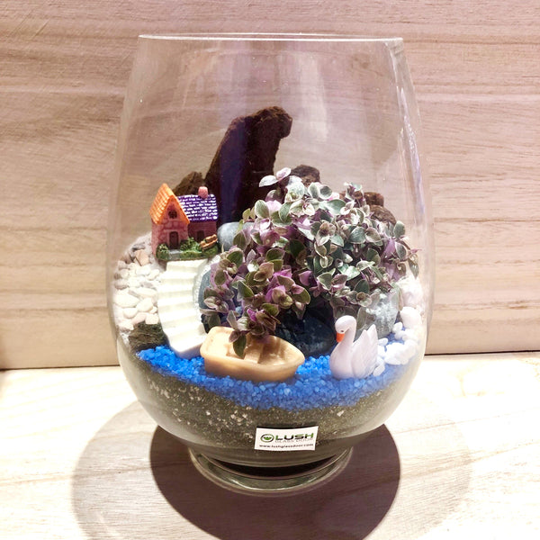 Customized When All's Calm Scenic Succulents Terrarium by Lush Glass Door Singapore