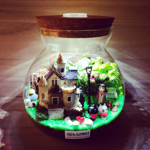 Customized The Girl With A Big House Themed Fittonia Terrarium with Light (Large) by Lush Glass Door Singapore