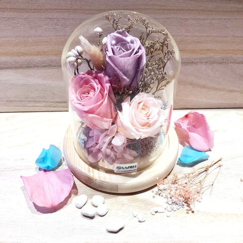 Customized Flair Eternal Rose Preserved Flower Glass Dome by Lush Glass Door Singapore