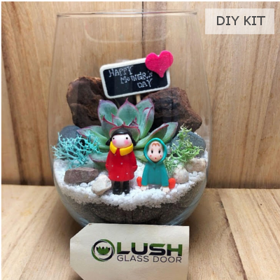 Mother's Day Succulent Terrarium DIY Kit 01 by Lush Glass Door Singapore
