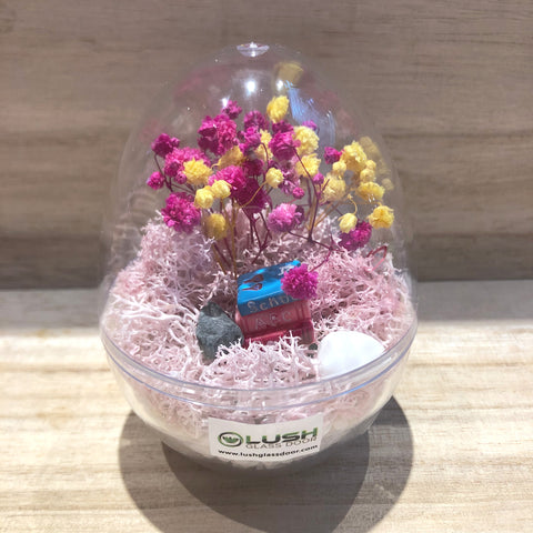Dottie Mini Egg Shaped Eternal Baby Breath with Colored Moss