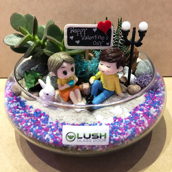 Customized The Day We Saw The Shooting Stars Themed Succulents Mid Range Terrarium by Lush Glass Door Singapore
