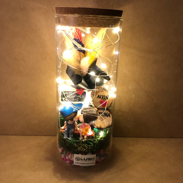 Customized Amanda Eternal Baby Breath Dried Flower Fairy Light Glass Jar by Lush Glass Door Singapore