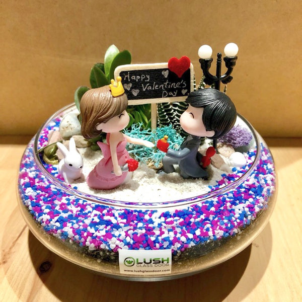 Customized We Found Love Themed Succulents Mid Range Terrarium by Lush Glass Door Singapore