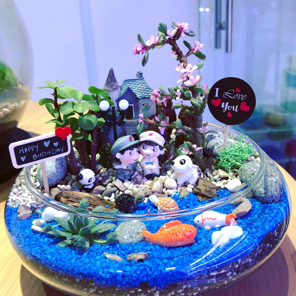 Customized Meade Succulents Arrangement Premium Terrarium by Lush Glass Door Singapore