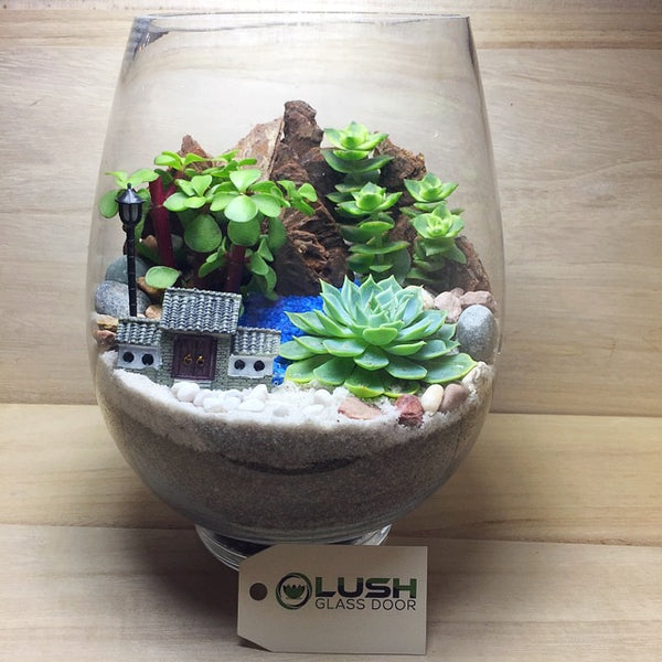 Customized Oasis Scenic Succulents Terrarium by Lush Glass Door Singapore