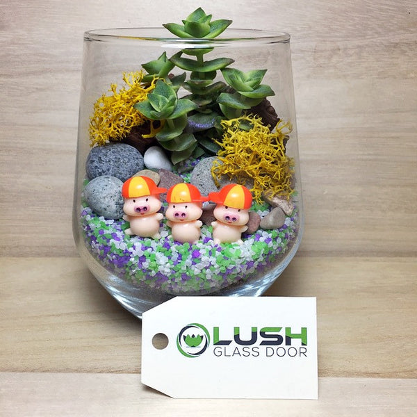 Customized Cute Three Little Pigs Themed Succulents Terrarium by Lush Glass Door Singapore