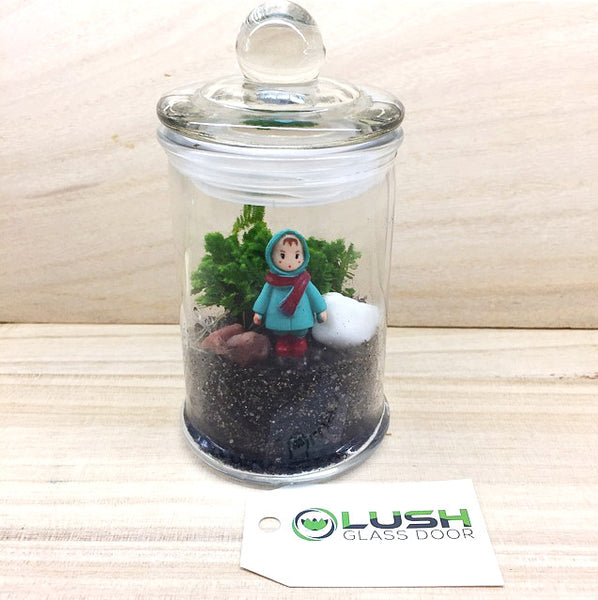 Teacher's Day Special! Little Red Scarf Girl Themed Live Moss in Mini Glass Jar Terrarium by Lush Glass Door
