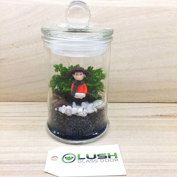 Teacher's Day Special! Girl in Winter (Orange) Themed Live Moss in Mini Glass Jar Terrarium by Lush Glass Door