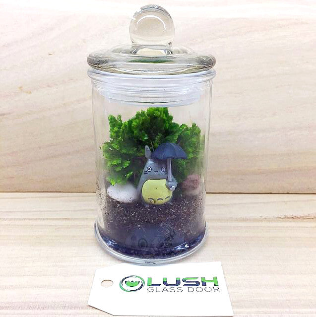 Totoro With Umbrella Themed Moss Terrarium Created By Lush Glass