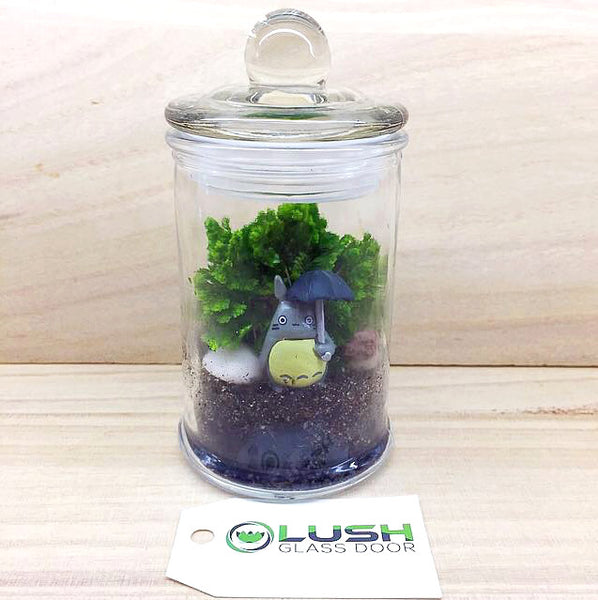 Customized Totoro with Umbrella Themed Moss Terrarium by Lush Glass Door Singapore